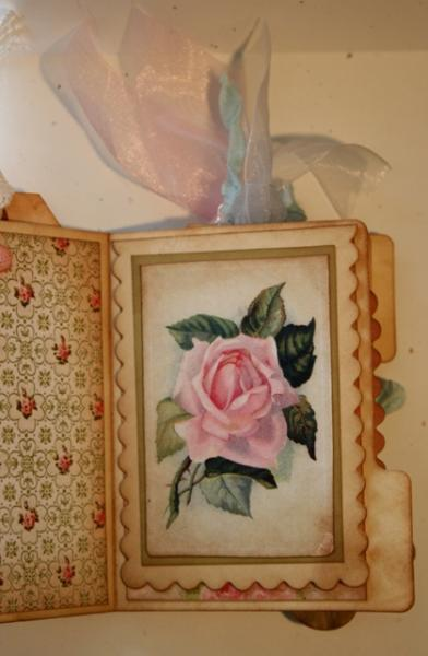 Shabby Chic Pink Roses sheet for scrapbook and cards Pocket Letters  DC704