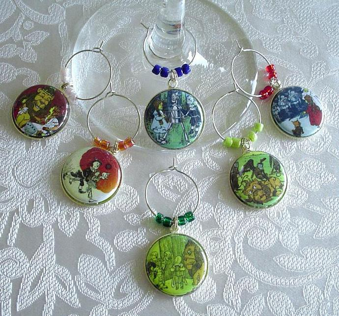 Wonderful Wizard of Oz Wine & Drink Glass Charms Set of 6 Dorothy, Tin Man,