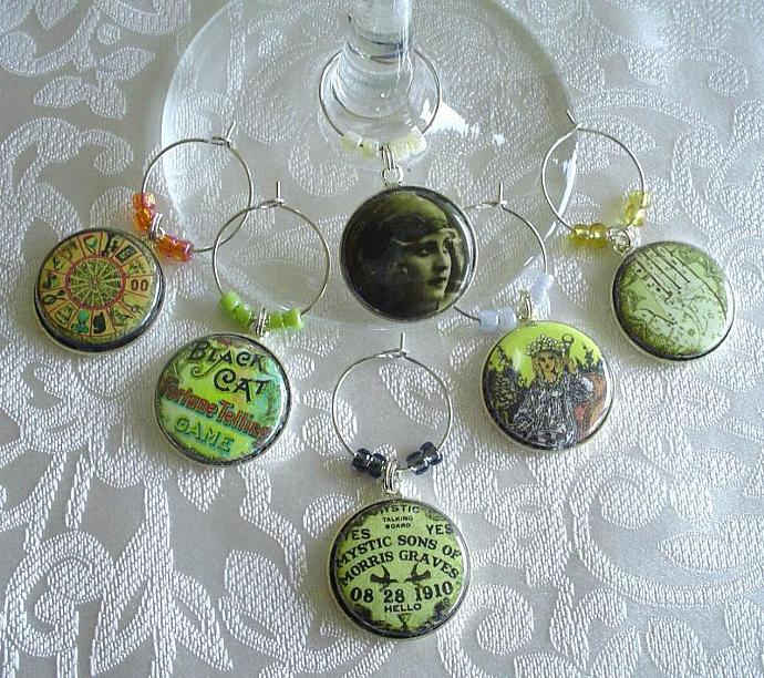 Gypsy Fortune Teller Wine & Drink Glass Charms Set of 6 Ouija Board, Fortune