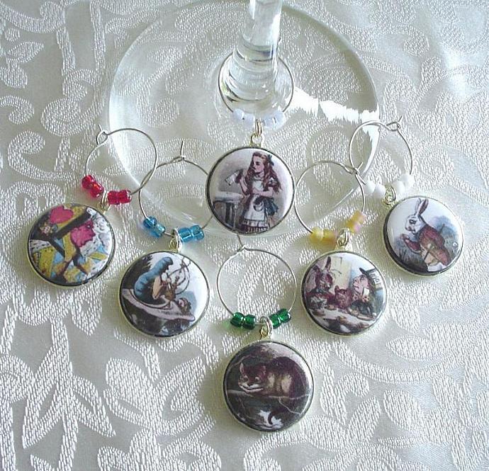 Alice in Wonderland Wine & Drink Glass Charms Set of 6 Alice, Rabbit, Cheshire