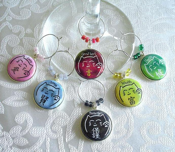 Maneki Neko Cats with Symbols and Meanings Wine & Drink Glass Charms Set of 6