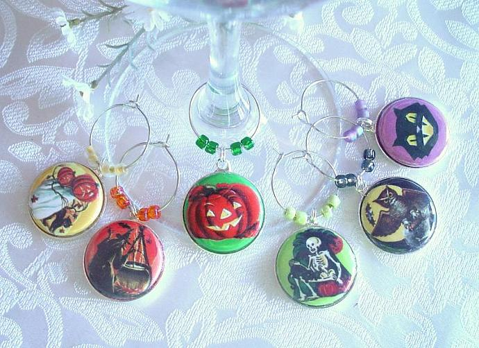 Retro Halloween Wine & Drink Glass Charms Set of 6