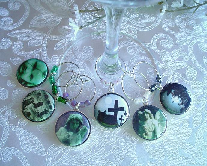 Spooky Cemetery Wine & Drink Glass Charms Set of 6