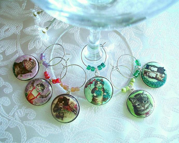 Pretty Vintage Kitties Wine & Drink Glass Charms Set of 6