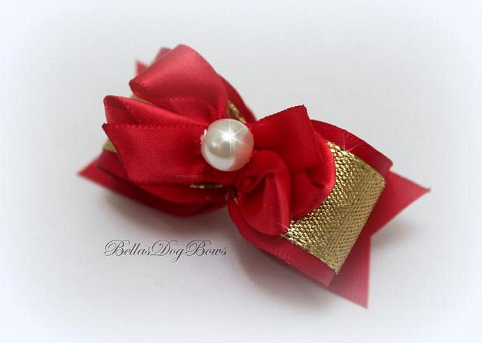 Red Satin Bow with Gold Metallic Overlay. Free-Style Red Bow with Large White
