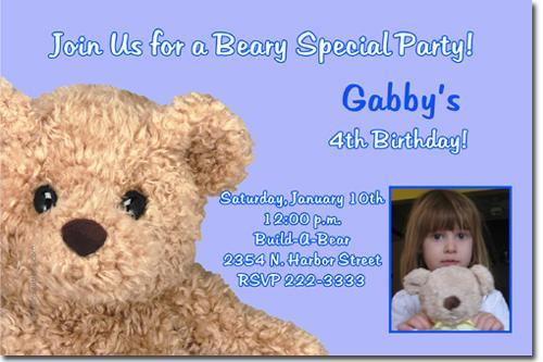 Teddy Bear Birthday Invitations ANY COLOR (Download JPG Immediately)