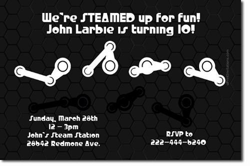 Steam Powered Birthday Invitations (Download JPG Immediately)