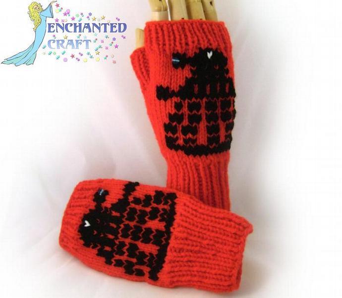 EXTERMINATE! Dr Who? Fingerless Gloves RED DAlek invasion