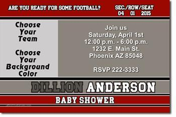 Football Baby Shower Invitations  (Download JPG Immediately)