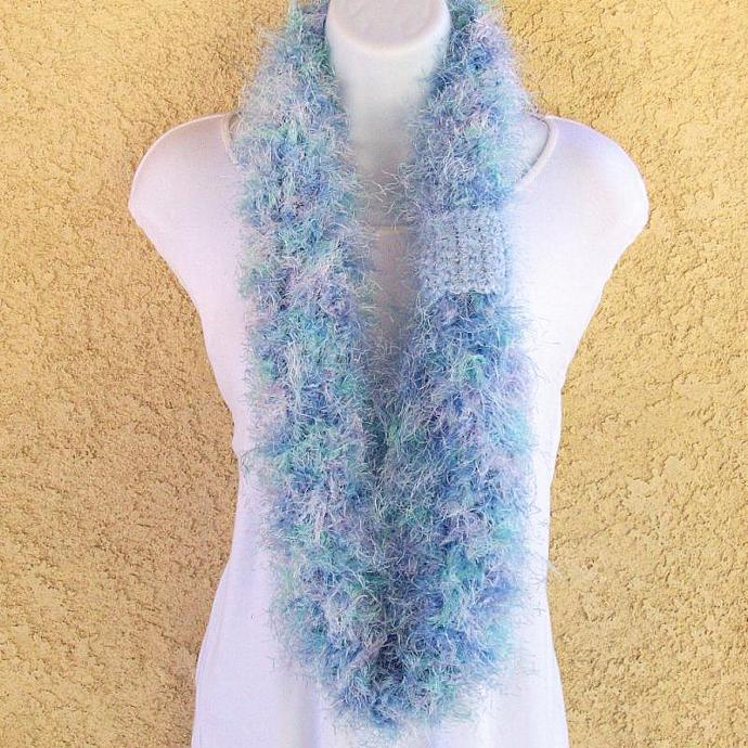 Infinity Scarf, crocheted in Water Iris Fuzzy Fur Yarn