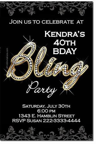 Bling Birthday Party Invitations (Download JPG Immediately)