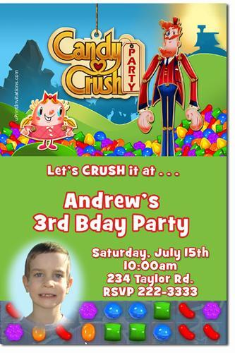Candy Crush Birthday Party Invitations (Download JPG Immediately)