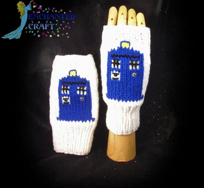 Fantastic Doctor Who Fingerless Gloves TarDis style police box on white