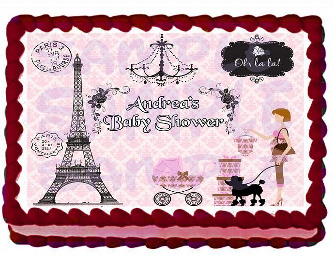 Baby Shower Paris Theme Cake Topper