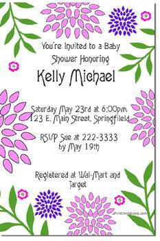 Daisy Flowers Baby Shower Invitations  (Download JPG Immediately)