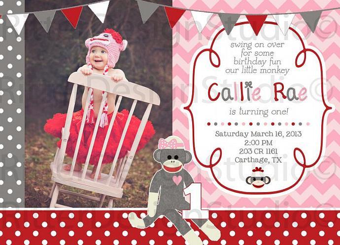 Sock Monkey Girl Invitation Printable/Digital File