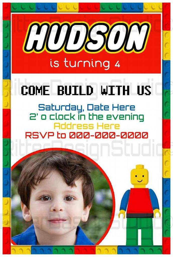 Lego Themed Birthday Invitation - Printable/Digital File