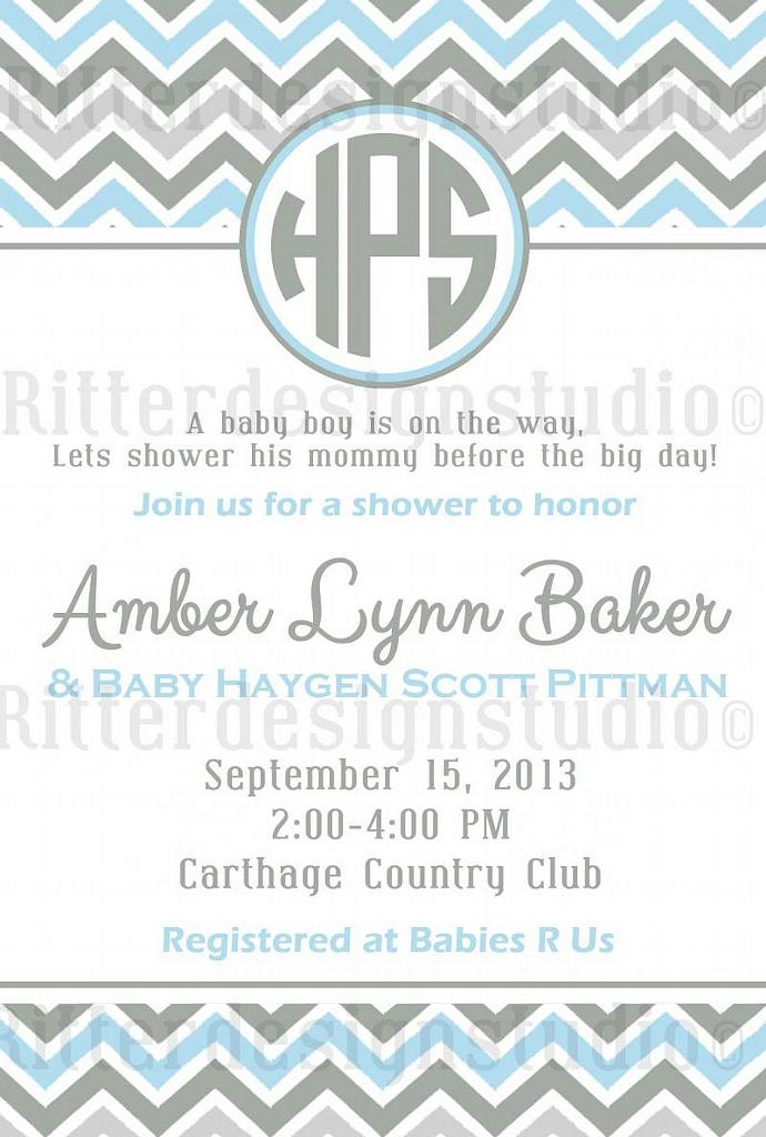 Chevron Monogram Baby Shower Invitation - Printable/Digital File