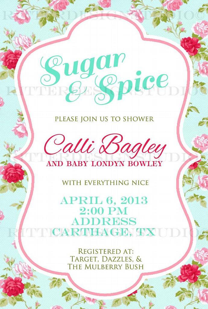 Shabby Chic Flower Baby Shower Invitation -Printable/Digital File