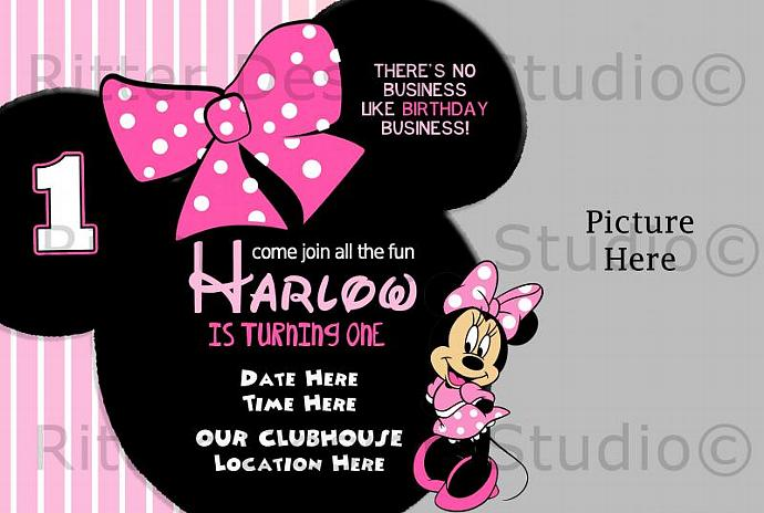 Minnie Mouse Birthday Invitation Printable-Digital File