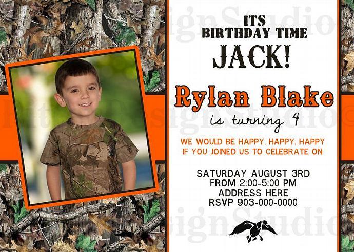 Camouflage Duck Dynasty Inspired Birthday Invitation - Printable Digital File