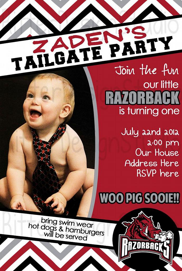 Arkansas Razorback Chevron Birthday Invitation Printable Digital File