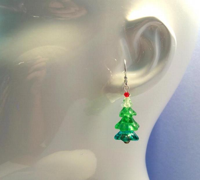 Earrings Festive Trees