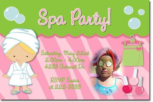 Spa Birthday Party Invitations (Download JPG Immediately)