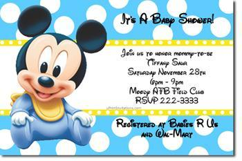 Mickey and Minnie Baby Shower Invitations  (Download JPG Immediately)
