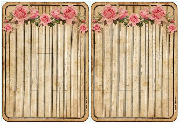 Shabby Chic Digital Collage sheet for scrapbook and cards  DC736 Pink Roses