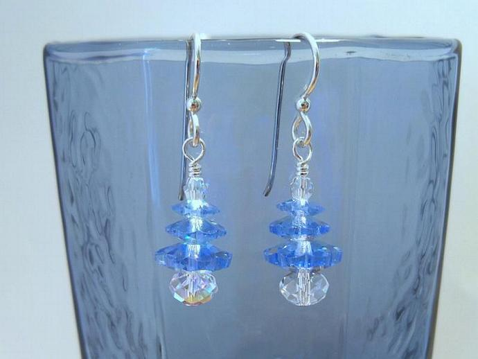 Earrings Blue and Crystal
