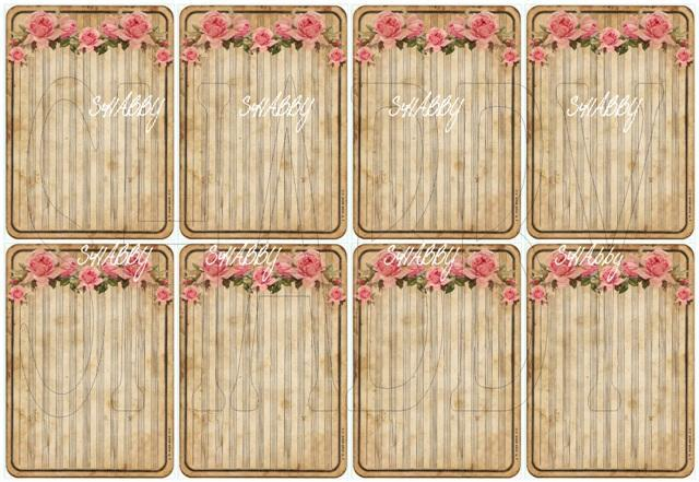 Shabby Chic Digital collage sheet Roses Journaling Tag for scrapbook and cards