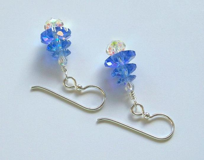 "Earrings - ""Blue and Crystal-(AB finish)"""