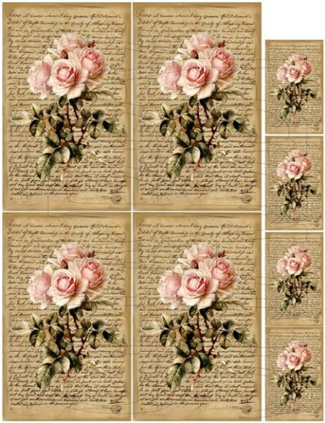 Shabby Chic sheet for scrapbook and cards Script Pink Roses DC756