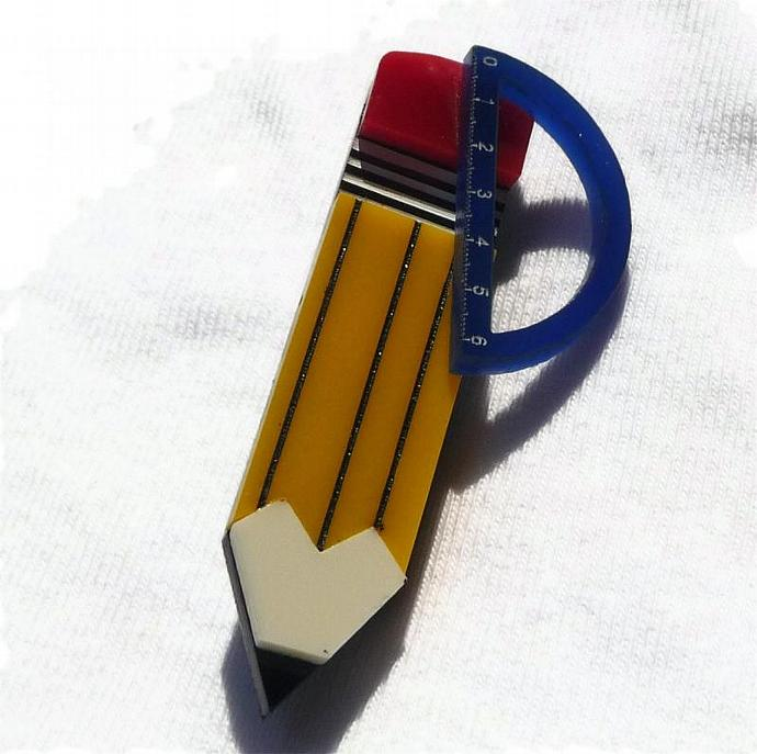 Architect Brooch,Back to School Jewelry,Lasercut Jewelry,Geek Jewelry