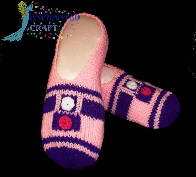 Knitted PINK R2-D2 Slippers inspired by STAR WARS