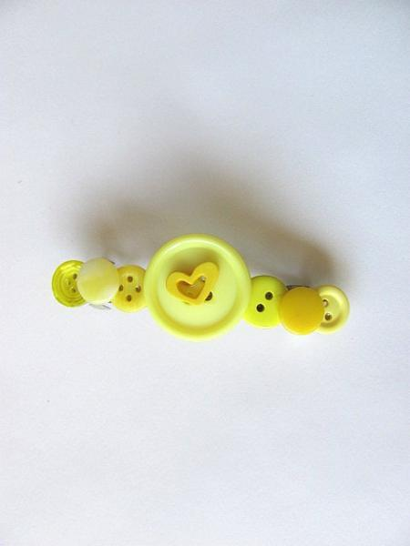 Sunshine Yellow Button Barrette FREE US Shipping