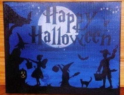 Primitive Halloween Signs witches Decorations Folk Art Trick or Treat Sign