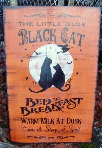 Primitives witch CATS Halloween Decorations Primitive Black Cats Bed And