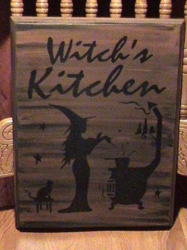 Primitive Witches Kitchen Witch Sign Handpainted Plaque Witchcraft Folk Art