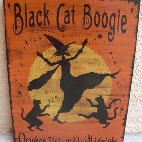 Primitive Black Cats Boogie Halloween Decorations witches cat signs witch