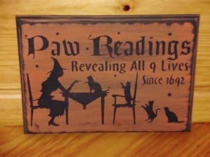 primitive Cats Paw Readings signs Halloween decorations witchcraft wiccan cat