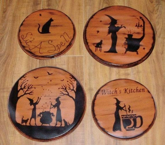 Witches Kitchen Witch oven Burner Covers stovetop Witchcraft Folk Art Halloween