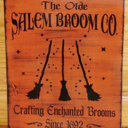 primitive Witch sign Olde Salem Broom Company Co Primitives Witches Signs