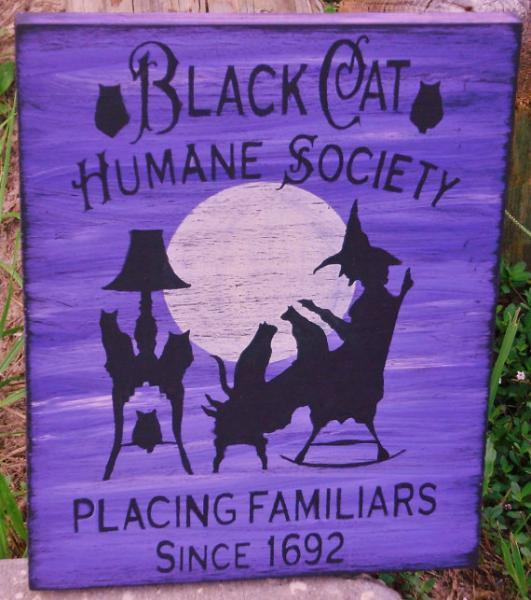 Primitive witch Halloween signs Black Cats Humane Society Cat art Primitive