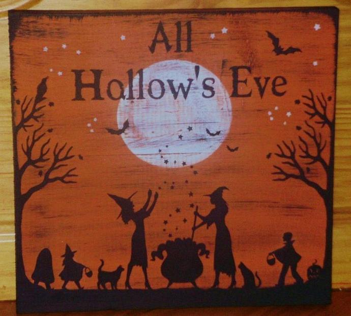 Primitive Halloween witches signs decorations All Hallow's Eve paintings sign