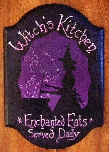 Witches Kitchen Witch Sign Handpainted Plaque Witchcraft Folk Art Halloween