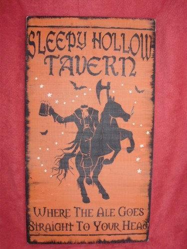 Primitive Sleepy Hollow Tavern Pub Sign Headless Horseman New York Folk Art