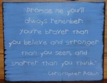 Primitive Winnie the Pooh Sign Promise Me Christopher Robin Nursery New Baby