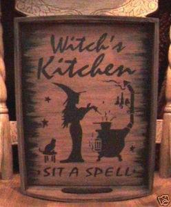 Primitive Halloween Decorations Witches Kitchen Tray Witch Sign Cats Signs